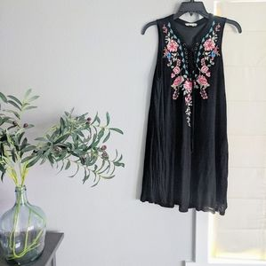 Black altered state embroidered lace-up lace up